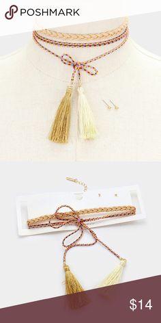 "2PC Double Tassel Choker + Earring Set [grandavenue: 329249]  • Color : Neutral • Theme : Tassel  • Necklace 1 Size : 12"" + 3"" L, 0.25"" H • Necklace 2 Size : 23"" L, 2"" H • Earrings Size : 0.1"" L • 2 PCS - Double tassel thread wrap necklace + braided faux suede choker Jewelry Necklaces"