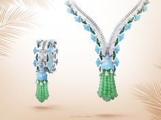 """Last weekend to visit the Van Cleef & Arpels """"45 years in Beverly Hills"""" exhibition. Connecting two exclusive arts, in which craftsmanship is dedicated to an ideal elegance, the Maison pays tribute to the world of Haute Couture with the 2012 Zip necklace - white gold, jade, turquoise, chrysoprase and diamonds, transformable into a bracelet. #45YearsinBeverlyHills Find out more about the Couture inspiration: http://goo.gl/ewCrtU"""