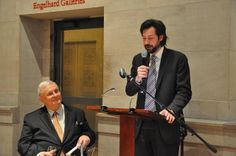 """Antonin Baudry, Cultural Counselor of the French Embassy welcoming the guests to The Morgan Exhibit of """"Swann's Way."""" With Edmund White, left."""