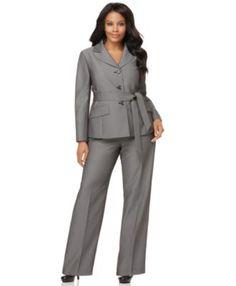 Le Suit Plus Size Suit, Belted Notched Collar Jacket & Wide Leg Pants Suits & Separates Plus Sizes