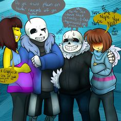 Sans and Frisk (c) Toby Fox Sketch (c) Lineart + colors of my AU of Sans and Frisk (c) Me Colors of No Reset AU of Sans and Frisk (c) Background was by .