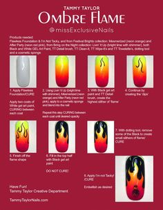 Ombre Flame Nail Art Design using Gelegance Gel Polish Ombre Flame Nail Art Design using Gelegance Gel Polish Shellac Nail Art, Gel Nails, Acrylic Nails, Coffin Nails, New Nail Art Design, Nail Art Designs, Design Art, Checkered Nails, Flame Nail Art