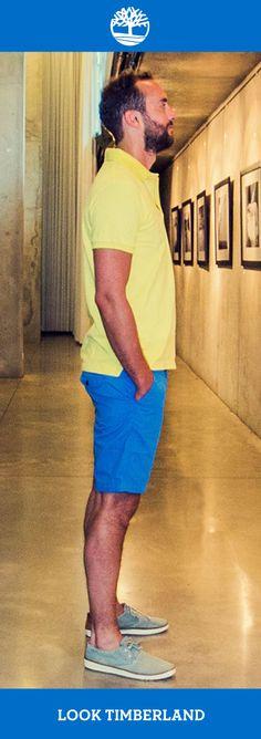 Dica de Look para usar com Polo amarela: bermuda Chino Oakham azul real e tênis EK Hookset Handcrafted Canvas Ox! Uma ótima combinação para dias mais quentes. #Timberland_br