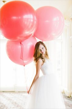 red pink details balloons whimsical-bright.  ball gown classic wedding dresses white.  Jolie Artistr