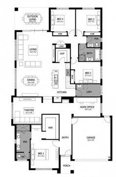Mojo Homes - Bohemia - Floor plan 4 Bedroom House Plans, Dream House Plans, Small House Plans, House Floor Plans, Modern Floor Plans, Home Design Floor Plans, Caravan Home, Circle House, Independent House