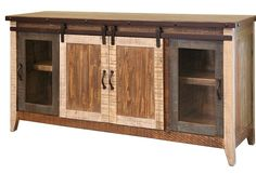 GREENVIEW SLIDING DOOR DISTRESSED Multicolor TV STAND - 70 INCH