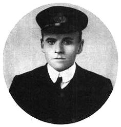 Charles Lightoller, second officer to Captain Smith.  After all of the lifeboats had been loaded, Lightoller survived the sinking by climbing on Collapsible B.  He helped all passengers onto the Carpathia before getting on, making him the last Titanic survivor to board the Carpathia