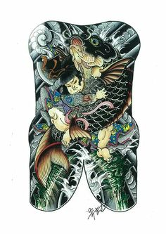 Koi Japanese Back Tattoo, Japanese Tattoo Designs, Japanese Sleeve Tattoos, Irezumi Tattoos, Leg Tattoos, Chinese Dragon Tattoos, Traditional Japanese Tattoos, Asian Tattoos, Japan Tattoo
