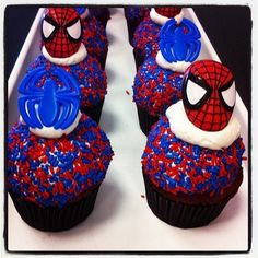 Spiderman cupcakes available all weekend! - Spiderman cupcakes available all weekend! Hostess Cupcakes, Mini Cupcakes, Cupcakes For Men, Vegan Cupcakes, Birthday Cupcakes, Cupcake Cakes, Velvet Cupcakes, Birthday Popcorn, Spiderman Cupcakes
