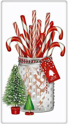 Glistening Candy Canes Jar Christmas 100% Cotton Flour Sack Dish Towel Tea Towel