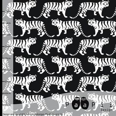 Tigers Black  by PaaPii Design / Sold by the Half Metre / /UK