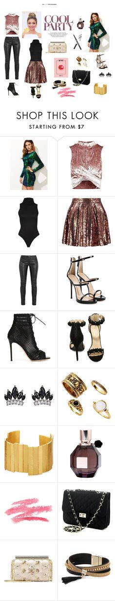 """Cool Party"" by celine-entin on Polyvore featuring Topshop, Boohoo, Yves Saint Laurent, Giuseppe Zanotti, Gianvito Rossi, Olivia Jaymes, Fallon, Stephanie Kantis, Viktor & Rolf and Oscar de la Renta"