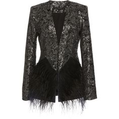 Sally LaPointe Sequin Embellished Velvet Blazer ($4,590) ❤ liked on Polyvore featuring outerwear, jackets, blazers, black, velvet blazer, sequin blazer jacket, sequin jacket, feather jacket and collarless blazer