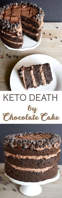 This Keto Death by Chocolate Cake is for the ULTIMATE chocolate lover! It's the … This Keto Death by Chocolate Cake is for the ULTIMATE chocolate lover! It's the perfect low carb sweet treat to satisfy your cravings! Low Carb Sweets, Low Carb Desserts, Healthy Desserts, Low Carb Recipes, Slim Fast, Death By Chocolate Cake, Keto Chocolate Cake, Chocolate Recipes, Cake Recipes