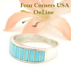 Four Corners USA Online - Turquoise Inlay Band Ring Size 8 1/4 Native American Ella Cowboy Silver Jewelry WB-1435, $109.00 (http://stores.fourcornersusaonline.com/turquoise-inlay-band-ring-size-8-1-4-native-american-ella-cowboy-silver-jewelry-wb-1435/)
