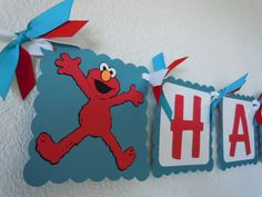 Elmo blue banner with ribbon