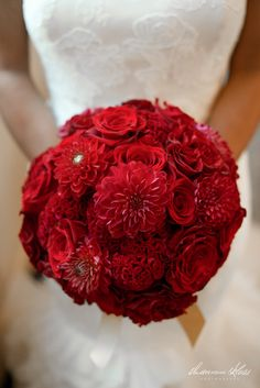 A Glamorous Fort Worth, Texas Wedding by Rachel Events #verawang #redbouqet #redroses #reddahlia #bouquet #rachelevents #dallasweddings