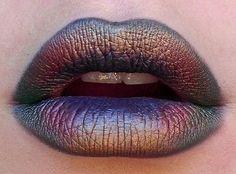 Oil spill lips . Multicolored lip art