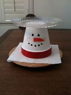 Snowman Tray - Made from a clay flower pot (99cent store) and clear tray (99cent store).   Carrot nose made from extra felt (Idea: do a small flower pot; place cupcake in solid red cupcake paper & frost cupcake white; place cupcake on top of painted flower pot)