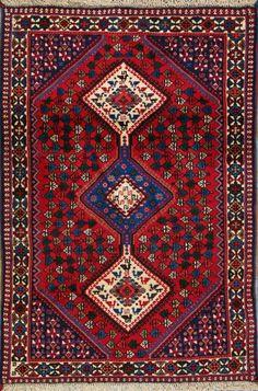 """Yalameh Persian Rug, Buy Handmade Yalameh Persian Rug 3' 4"""" x 4' 11"""", Authentic Persian Rug"""