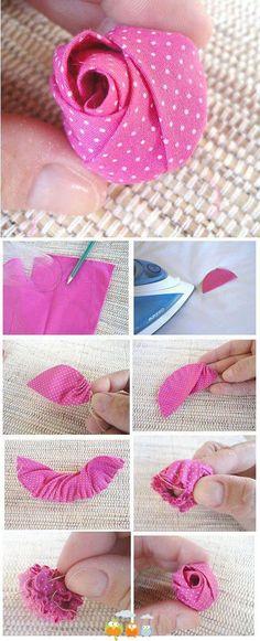 Botão de rosa de tecido,passo a passo.