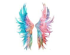 Art Print Watercolor Angel Wings Feather Art 206 by Thenobleowl