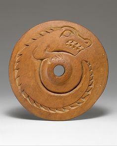 Spindle Whorl  Date: ca. 1860 Geography: Canada, British Columbia Culture: Salish Medium: Wood Dimensions: Diam. 7 1/4 in. (18.4 cm)