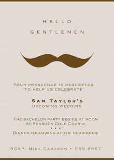 Bachelor party invitations. Make it a little darker and more villain-like.