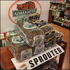 Being an unsophisticated eater, I was surprised by the prominent promotion of this Alvarado St. Sprouted Wheat Bread Aisle-End Rack