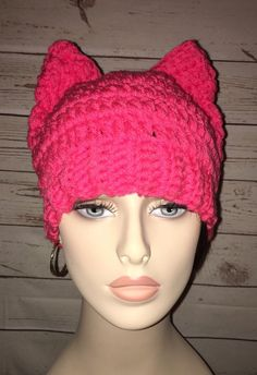 Pink pussy cat hand crochet hat protest march  womenswave  metoo bf7094c4adfd