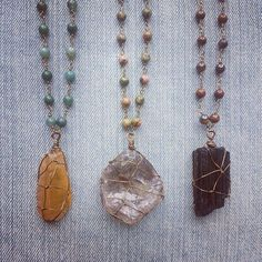 Handmade wire wrapped raw crystal mala bead necklaces www.marleecwatts.etsy.com