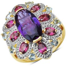 Malaika 14K Yellow Gold Plated 6.80 Carat Genuine Amethyst, Rhodolite & Blue Topaz .925 Sterling Silver Ring (Size-7, Purple), Size: 7