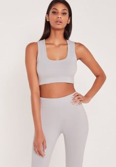 Carli Bybel Sleeveless Jersey Crop Top Grey