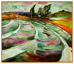 The Wave Landscape by Symbolist Artist Edvard Munch Counted Cross Stitch or Counted Needlepoint Pattern