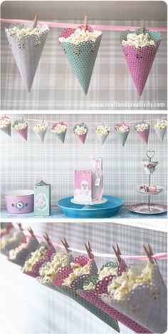 DIY Popcorn cones – cute way to decorate and serve at your party…OR storage in play room. DIY Popcorn cones – cute way to decorate and serve at your party…OR storage in play room. Decor Crafts, Diy Crafts, Rock Crafts, Homemade Crafts, Garden Crafts, Girl Birthday, Birthday Parties, Garden Birthday, 14th Birthday