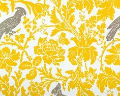 Barber in Corn Yellow & Kelp Printed Canvas, $14 yard