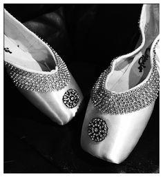 Elegant White Diamond Pointe Shoe Pair By Fleur de Lisa Pointes