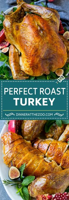 This roast turkey is simple to make and full of savory flavors including butter, garlic, herbs and lemon. A must-have easy Thanksgiving turkey recipe! Thanksgiving Truthan, Thanksgiving Casserole, Thanksgiving Dinner Recipes, Holiday Recipes, Christmas Recipes, Christmas Desserts, Baked Turkey, Roasted Turkey, Turkey Brine