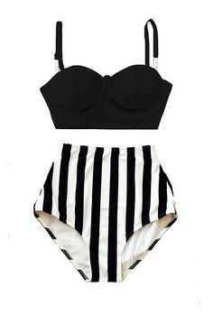 Black Midkini Underwire Top and Stripe Striped High Waisted
