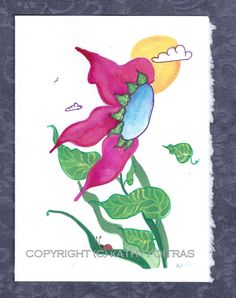 hand painted fantasy flower card one of a kind by KathyPoitrasArt