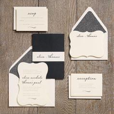 Cream Die Cut card, dark enclosure, cream paper holder.  Wedding Invitation Ideas | Paper Source