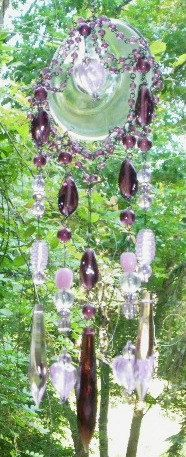 Suncatcher Wind Chime using crystals and beads from old broken jewelry.