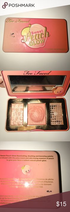 Peach glow Too Faced peach glow palette. Usage shown. Bronzer broke Too Faced Makeup