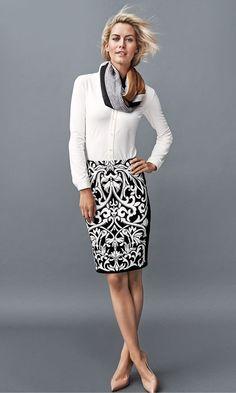 Betty Skirt, Lucy Pencil Skirt & Colorblock Wool Scarf #jmclaughlin #fallfashion  #f14