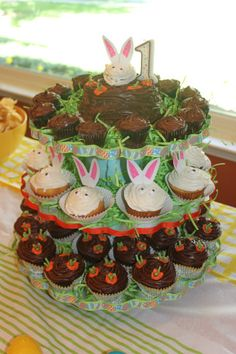 Easter Birthday Cupcakes & Stand, Bunnies and Carrots!