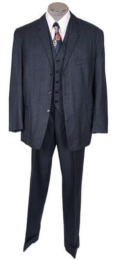 1950s Mens 3 Piece Suit Vintage Hand Tailored Jacket Vest & Pants Made in Egypt Size M / L