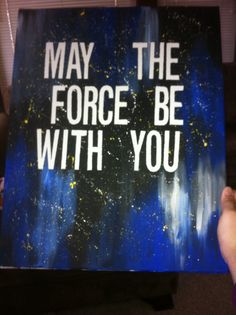 Star Wars Themed Art. Vinyl letters on canvas. Paint over them. Remove the stickers.