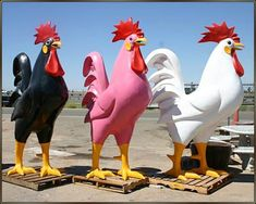 Fiberglass Rooster Statues - you want a pink one?