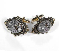 Steampunk Cufflinks - Vintage Watch Cuff Links Gold Renaissance Motif - SOLDERED - EXQUISITE Wedding Gift - Steampunk Jewelry by edmdesigns. $75.00, via Etsy.