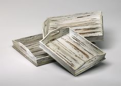 Shabby Chic - Highly Distressed Wood Tray with Handles - Set of Three